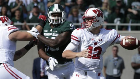 Alex Hornibrook led the Badgers in East Lansing.