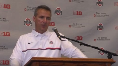 Urban Meyer speaks after Ohio State's 58-0 win over Rutgers.