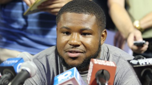 Ohio State running back Mike Weber meets with the media Monday.