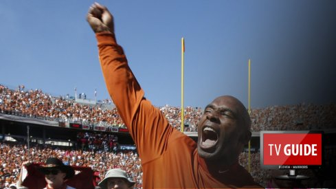 Oct 10, 2015; Dallas, TX, USA; Texas Longhorns head coach Charlie Strong celebrates winning the game against the Oklahoma Sooners during the Red River rivalry at Cotton Bowl Stadium. Texas won 24-17. Mandatory Credit: Tim Heitman-USA TODAY Sports
