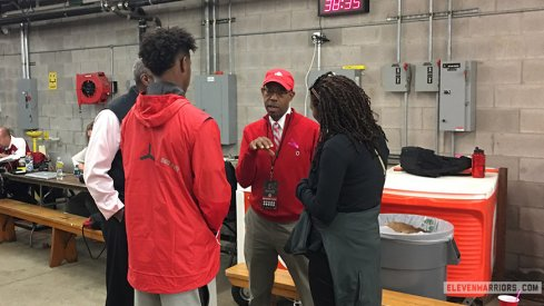 Five-star wide receiver Donovan Peoples-Jones meets with Ohio State athletic director Gene Smith and University president Michael Drake.