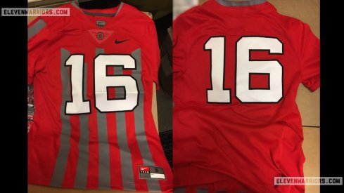 The retail version of the 1916 throwback uniforms Ohio State will wear against Nebraska.