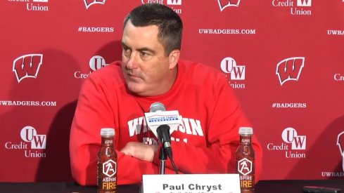 Wisconsin head coach Paul Chryst meets with reporters.