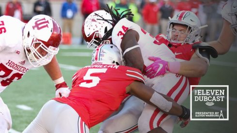 Nick Bosa helps bring down the ball carrier against Indiana