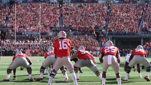 J.T. Barrett lines up with Mike Weber in the Ohio State backfield.