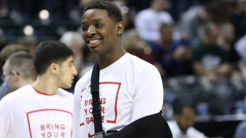 Ohio State's Jae'Sean Tate missed part of last season with a shoulder injury.
