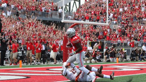 K.J. Hill flexes into the end zone against Bowling Green.