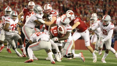 Ohio State's defense swarmed Wisconsin on 1st down after halftime.