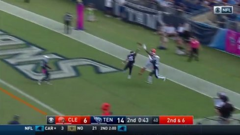 Terrelle Pryor mosses two Tennessee Titans.