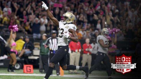 Michael Thomas scores a touchdown play.