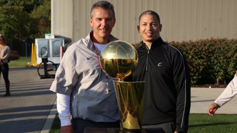 Coach Urban Meyer Tyronn Lue Larry O'Brien Trophy.