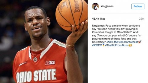 LeBron James says he'll definitely be playing in front of Ohio State fans tonight.