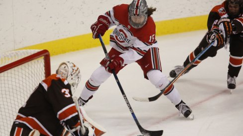 Ohio State forward Freddy Gerard takes the puck to the net against Bowling Green.