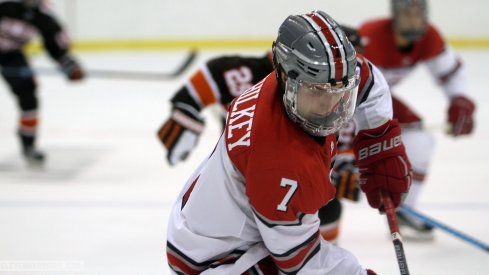 Ohio State's Nick Schilkey skates against the Bowling Green Falcons.
