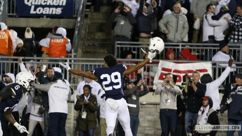 Penn State defensive back John Reid celebrates the Nittany Lions' upset of No. 2 Ohio State Saturday night.