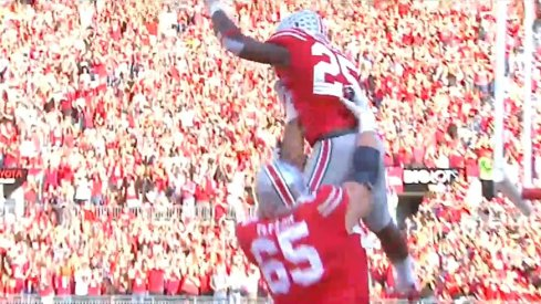 Mike Weber and Pat Elflein celebrate a touchdown.