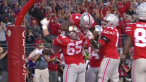 Curtis Samuel scores against Northwestern.