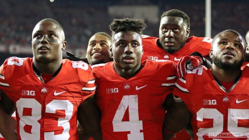 Terry McLaurin, Jonathon Cooper, Curtis Samuel, Isaiah Prince, and Mike Weber sing Carmen Ohio after beating Northwestern.