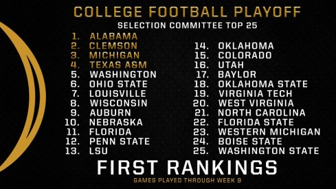Some takes on the initial College Football Playoff rankings.