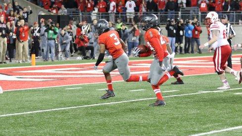 Malik Hooker returns an interception for a touchdown against Nebraska.
