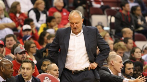 Ohio State head coach Thad Matta walks the sidelines against N.C. Central.