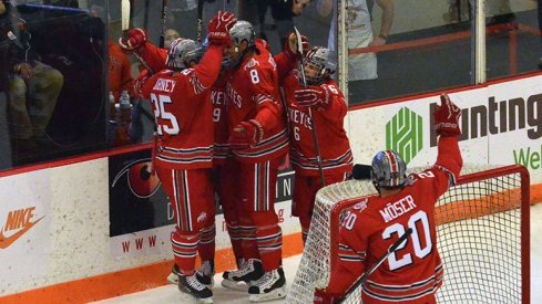 Ohio State men's hockey celebrates a goal against Rensselaer.
