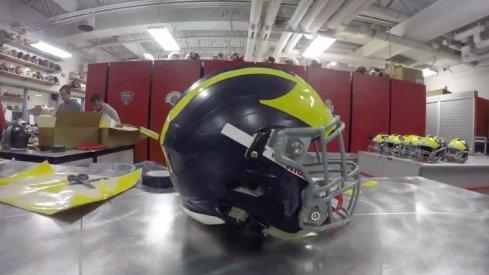 Ohio State Helmet turned into a Michigan helmet.