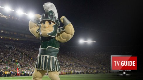 Sep 17, 2016; South Bend, IN, USA; Sparty, the Michigan State Spartans mascot celebrates in the third quarter against the Notre Dame Fighting Irish at Notre Dame Stadium. MSU won 36-28. Mandatory Credit: Matt Cashore-USA TODAY Sports