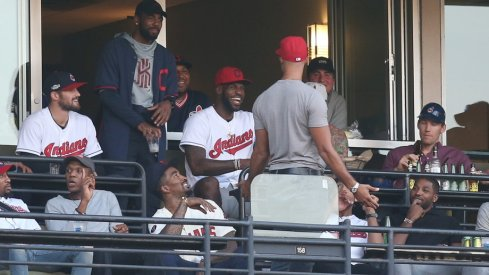 LeBron James, Cleveland Cavaliers at an Indians' playoff game.