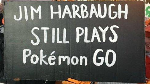 Jim Harbaugh still plays Pokémon Go.