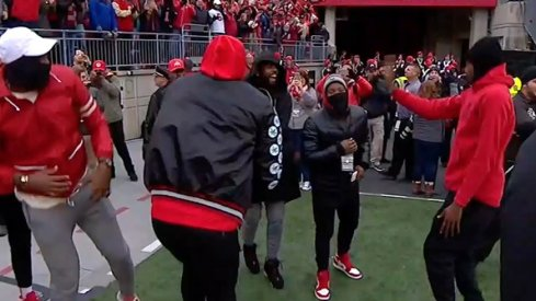 LeBron James and the Cavs dance after Malik Hooker returned an interception for a touchdown.