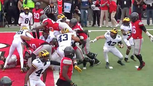Mike Weber scores against Michigan.