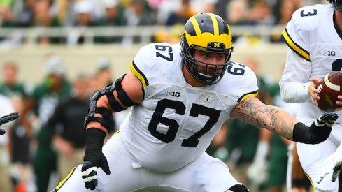 Kyle Kalis against Michigan State.