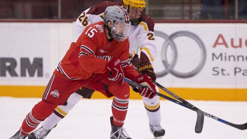 Dave Gust was one of the stars of Ohio State's B1G hockey opener at Minnesota.