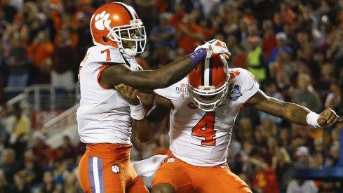 Mike Williams, Deshaun Watson celebrate a touchdown.