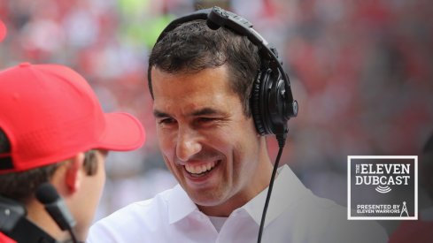 Buckeye coach Luke Fickell laughs during an Ohio State game in 2016.