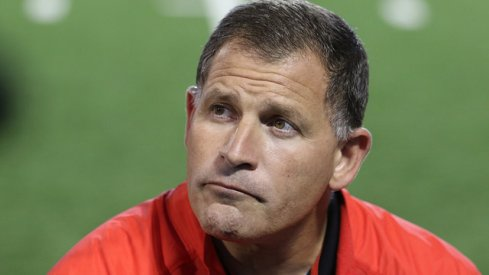 Greg Schiano speaks with reporters in Columbus (but not about the Oregon or the USF job).