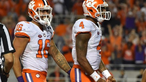 Dec 3, 2016; Orlando, FL, USA; Clemson Tigers quarterback Deshaun Watson (4) celebrates after scoring a touchdown against the Virginia Tech Hokies during the second half of the ACC Championship college football game at Camping World Stadium. The Clemson Tigers defeat the Virginia Tech Hokies 42-35. Mandatory Credit: Jasen Vinlove-USA TODAY Sports