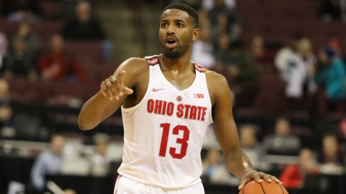 Ohio State point guard JaQuan Lyle dribbles Tuesday night.