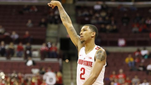 Marc Loving holds a follow through against Florida Atlantic.