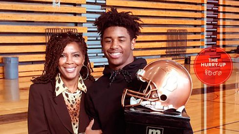 Donovan Peoples-Jones accepting MLive.com's Player of the Year award