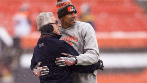 Jim Tressel and Terrelle Pryor prior to the Browns/Bengals game, Dec 2016