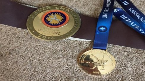 Medal and belt recovered by Logan Stieber.