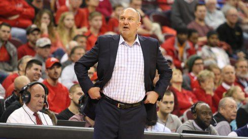 Ohio State coach Thad Matta strolls the sidelines.