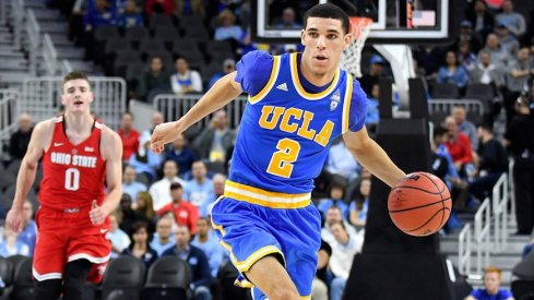 UCLA point guard Lonzo Ball drives inside against Ohio State
