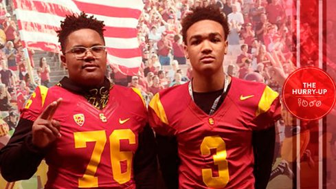 Ohio State commit Wyatt Davis, left, on an unofficial visit to USC last spring
