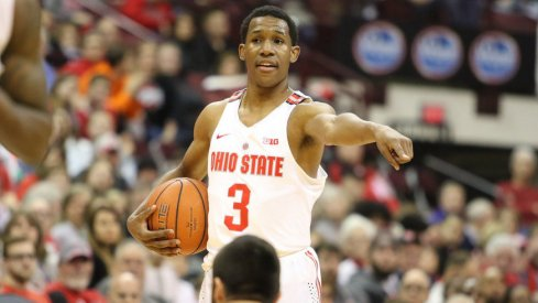 Ohio State PG C.J. Jackson calls out a play vs. Youngstown State.