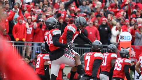 Ohio State's Malik Hooker and Gareon Conley celebrate against Michigan.