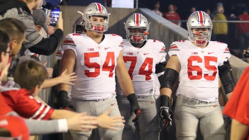 Billy Price, Pat Elflein take the field before Ohio State's game at Wisconsin.