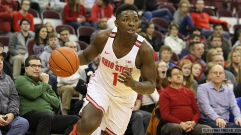 Ohio State's Jae'Sean Tate drives against UNC Asheville.